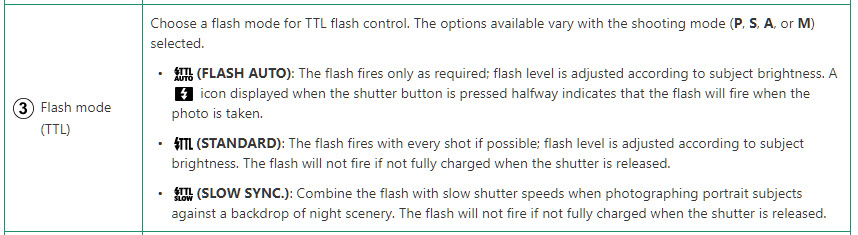 Flash Modes in TTL