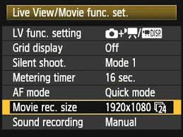 5D Mark II Movie Menu